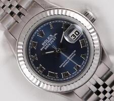Rolex Lady Datejust 69174 Steel 26mm No-Hole 18k Fluted Bezel Navy Roman Dial