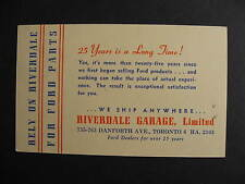 Canada Riverdale Garage Ford Toronto advertising postcard, check it out!