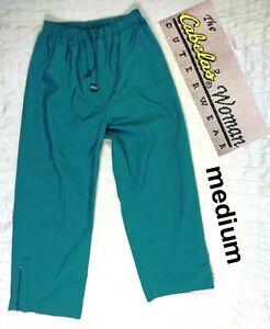 Cabelas Womens Size MEDIUM GORE-TEX Nylon Lined Hunting Pants Drawstring Green
