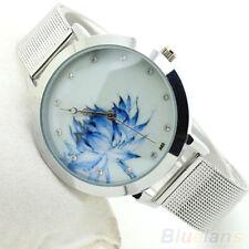 Femmes lotus bleu acier inoxydable quartz mesh bande montre-bracelet