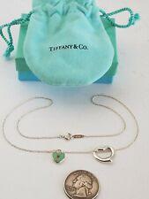 "Tiffany & Co Sterling Silver Elsa Peretti & Lock Heart Pendant Necklace Bag 16"""