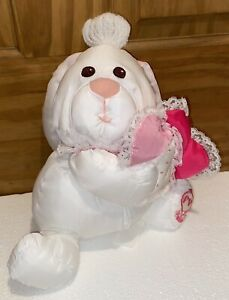 "Puffalump Valentine Bunny Rabbit White Hearts Fisher Price 1988 8024 9"" Nylon"