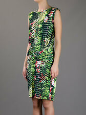 NWT KENZO Green Sleeveless Tropical Print Dress sz L Jersey Orchid print $435