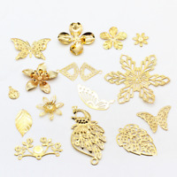 20Pcs Filigree Gold Metal Beads Caps Connector Pendants Jewelry Making Findings
