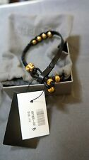 ALEXANDER MCQUEEN BLACK Leather and Swarovski crystal skull bracelet Gold NWT