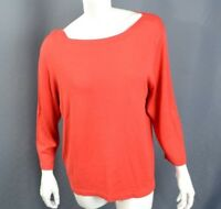 Coldwater Creek Top SZ XL Red Silk Blend 3/4 Sleeve Boat Semi-sheer