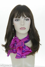 Long Straight Full Bodied Blonde Brunette Red Wavy Skin Top Wigs With Bangs