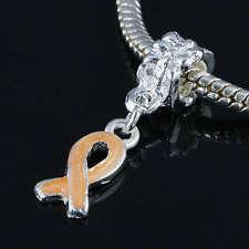10pcs Orange Ribbon Addiction Recovery Awareness Charms European Bracelet Beads
