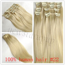 Salon Quality 7pcs/set 100% Remy Clip In Real Human Hair Extensions Full Head
