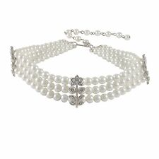 3 Row White Pearls with Silver-Tone Crystal Flowers Choker Necklace