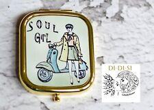 Pocket Mirror Soul Girl, Northern Soul Compact Mirror Keep Sake, Mods, Retro