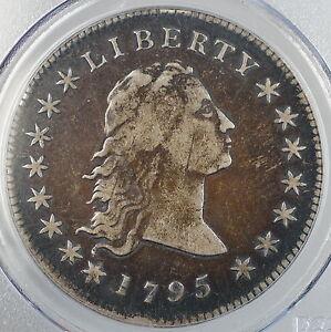 1795 2 Leaves Flowing Hair Silver Dollar Coin B-1, BB-21 PCGS VF Details