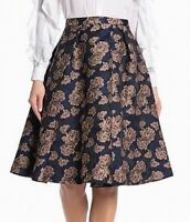 Endless Rose Womens Skirt Navy Blue Size XS Floral Brocade A-Line $100- 351