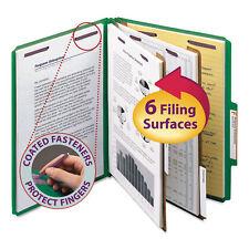 Smead Pressboard Classification Folders Letter Six-Section Green 10/Box 14033