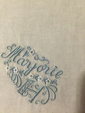 VINTAGE LINEN HANDKERCHIEF BRIDAL WEDDING White  with BLUE  MARJORIE H MONOGRAM