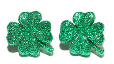 GLITTER SHAMROCK ST PATRICK'S DAY STUD EARRINGS (H041)