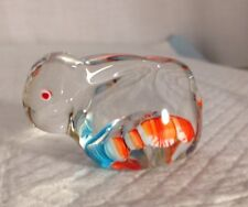 Murano Art Glass Paperweight Clear Millefiori Bunny Rabbit Flawless Euc
