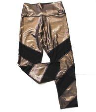 Victoria's Secret PINK Ultimate High Waist Mesh Foil Shine Legging Gold Black L