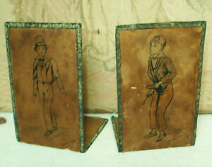 VINTAGE BOOKENDS - LEATHER LOOK / DICKENS CHARACTERS