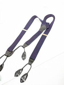 Pelican Braces Suspenders Black Leather Button Tips Brass Navy Blue - B1
