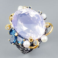 Top AAA 33ct+ Natural Lavender Amethyst 925 Sterling Silver Ring Size 8/R124727