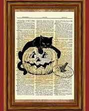 Halloween Black Cat Pumpkin Dictionary Art Print Jack O Latern Picture Poster