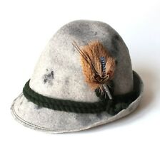 Vintage Allgauer Lodenhut Wool Felt Hat Made in Germany Grey Black w/ Feather