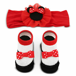 Disney Baby Girls Minnie Mouse Headwrap and Booties Gift Set, red, white, black,