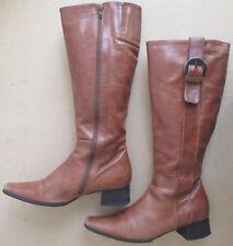 diba Tan Cognac Brown Leather Upper Side Zipper Boots Buckle Square Toe 6 1/2 37