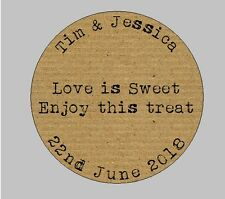 105 x Personalised Wedding Shabby Brown Kraft Effect Favour Labels Stickers