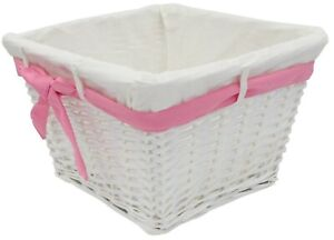 Small Rattan Woven Wicker Lined Baskets 18cm Small Basket Pink Ribbon