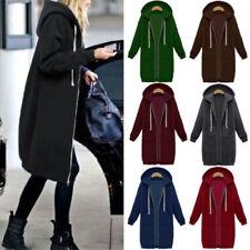 Damen Reißverschluss Langarm Kapuzenpullover Hoodie Lang Pullover Mantel Jacken