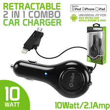 Retractable Apple Certified Car Charger for All iPhone 11, X, 8, 7, 6, 5 Series