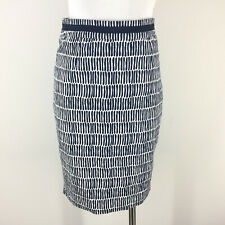 Boden XS 2 4 Navy Blue White Print Pencil Skirt Straight Excellent Geo Career