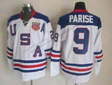 2010 USA  Zach Parise #9 Hockey Jerseys White Blue All Stitched Custom Names