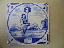 Antique 19th century biblical Delft blue tile (David took Philistine's head )