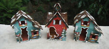 hand painted birdhouses-small metal birdhouses-collectable birdhouses-feeders