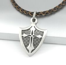 Silver Black Chrome Dog Tag Shield Cross Pendant Brown Braided Leather Necklace