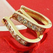 Hoop Earrings Real 18K Rose G/F Gold Solid Ladies Diamond Simulated Design