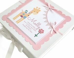 Personalised Girl's Keepsake Box, LARGE Memory Box. New Baby Gift, Christening