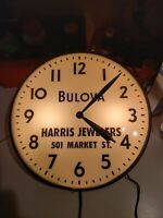1957 Pam Lighted Clock Bulova Harris Jewelers Wilmington Delaware round watches