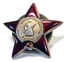 {BJSTAMPS}  Russia USSR WWII Original Enameled Silver Red Star Medal #19188?6