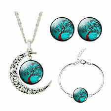 Turquoise Tree of Life Jewellery Set Stud Earrings Moon Necklace & Bracelet S892