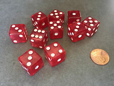 Set of 10 D6 16mm Marbleized Square Corner Dice - Red with White Pips