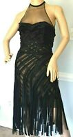 DONNA KARAN Collection Fringe Embroidered Mesh Bustier Dress IT 38 40 US 2 4  XS