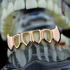 Fang Grillz Four Open Face Teeth 14k Rose Gold Plated Lower Bottom Vampire Fangs