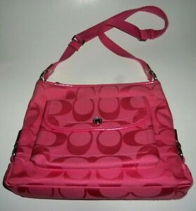 COACH KYRA Signature Crossbody Handbag Purse F16550 Pink Canvas