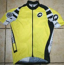 Assos Cycling Jersey Mens Medium Short Sleeve Full Zip Swiss Yellow White Black