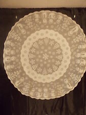 """HERITAGE LACE IVORY SNOWMAN AND XMAS TREES 7O"""" ROUND TABLECLOTH NWOT ITEM 7055"""