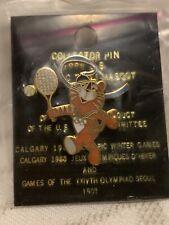 """1988 Seoul Summer Olympic Mascot Pin """"Hidori"""" - Tennis"""